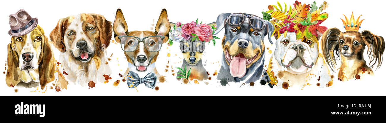 Cute border from watercolor portraits of dogs. For t-shirt graphics. Watercolor dogs illustration - Stock Image