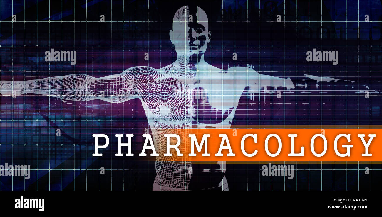 Pharmacology Medical Industry with Human Body Scan Concept - Stock Image