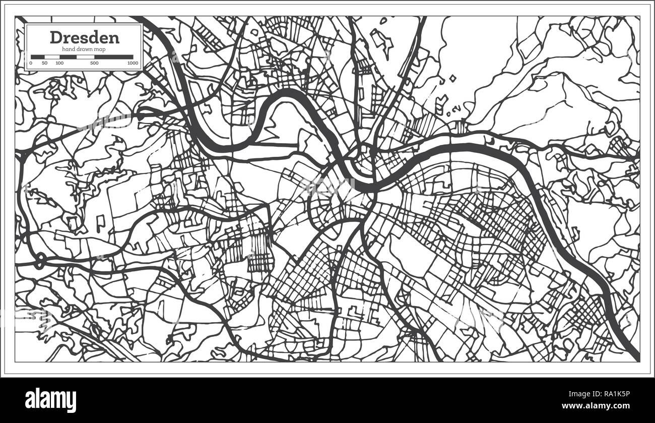 Dresden Germany City Map In Retro Style Outline Map Vector