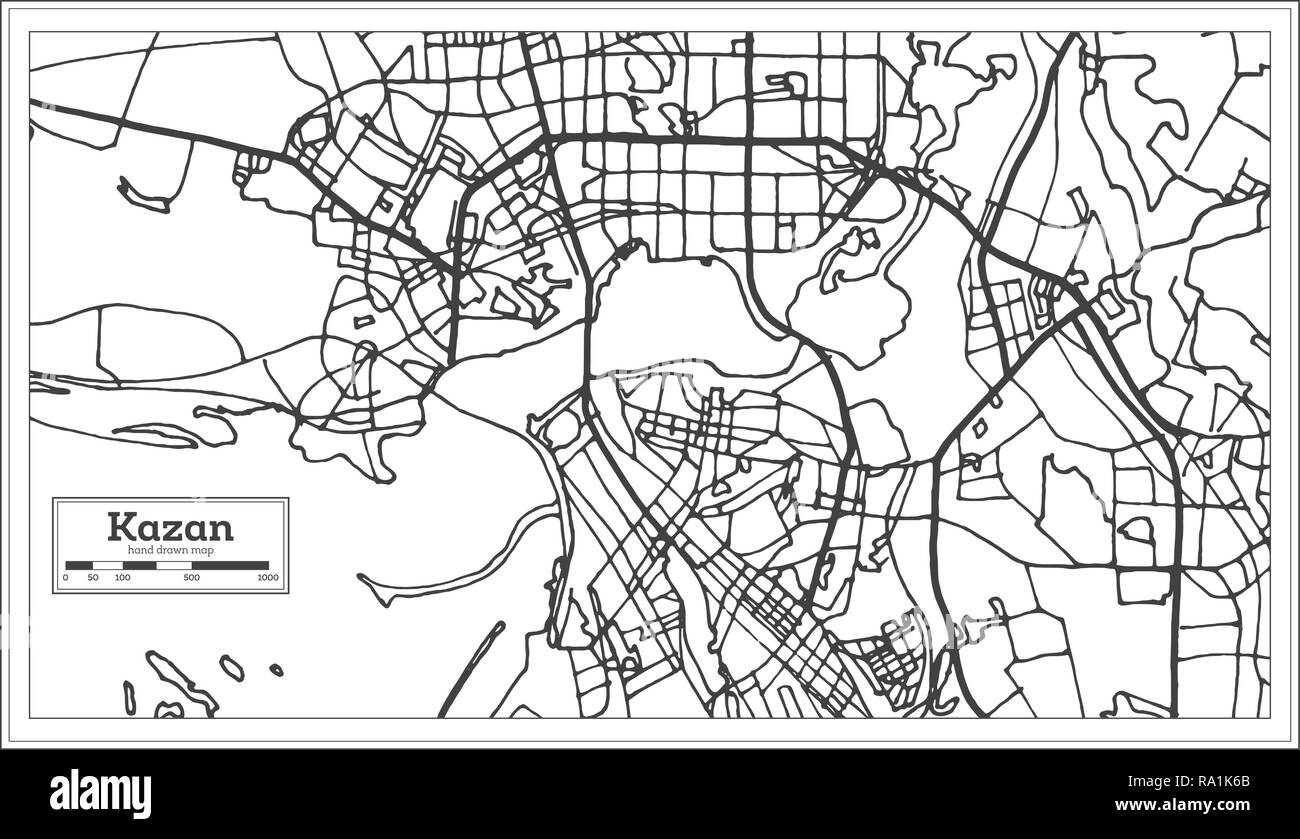 Kazan Russia City Map in Retro Style. Outline Map. Vector Illustration. - Stock Image