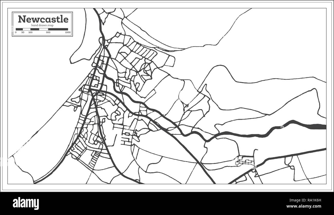 Newcastle England City Map in Retro Style. Outline Map. Vector Illustration. Stock Vector