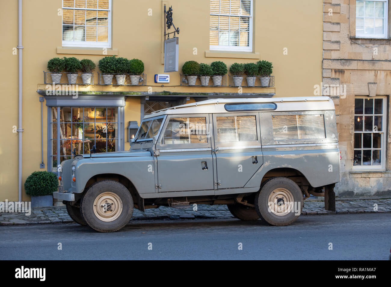 1970 Land Rover outside a shop in Chipping Campden, Cotswolds, Gloucestershire, UK Stock Photo