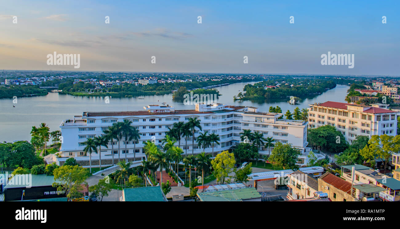 A high viewdown onto the Perfume river at Hue, Vietnam in the evening Stock Photo