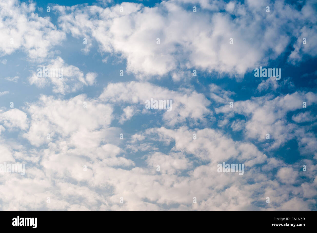 White fluffy clouds and blue sky - Stock Image