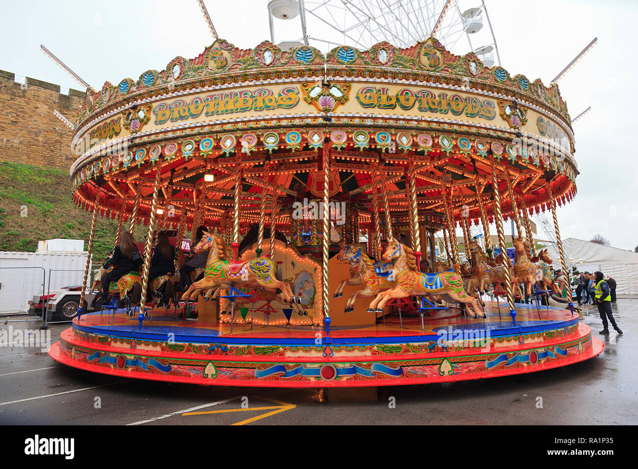 Carousel Ride at the Lincoln Christmas Market Lincolnshire UK Stock Photo