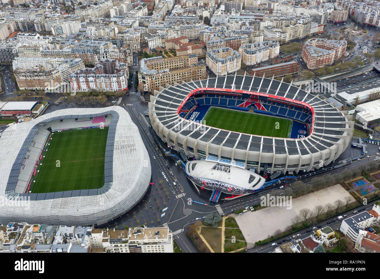 Aerial View Of Le Parc Des Princes Stadium For Soccer Team Paris Saint Germain And Stade Jean Bouin Home Of The Rugby Team In Paris France Stock Photo Alamy