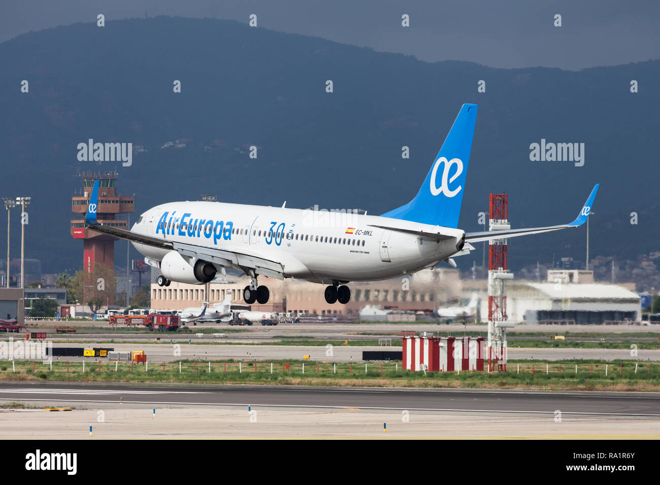 Barcelona, Spain - September 16, 2018: Air Europa Boeing 737-800 with 30 Years special livery landing at El Prat Airport in Barcelona, Spain. - Stock Image