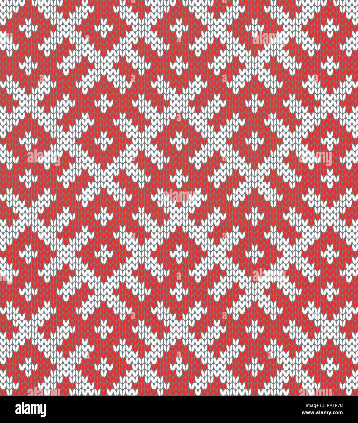 Seamless Knitting Pattern.Based on traditional Russian ornament.Red and white.Wool Knit Texture Imitation.DISABLING LAYERS, you can obtain seamless pa Stock Vector