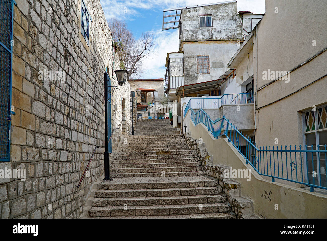 SAFED, ISRAEL - JANUARY 2017:   This ancient city with narrow lanes houses a number of historic synagoges  associated with Jewish mysticism, as well a - Stock Image