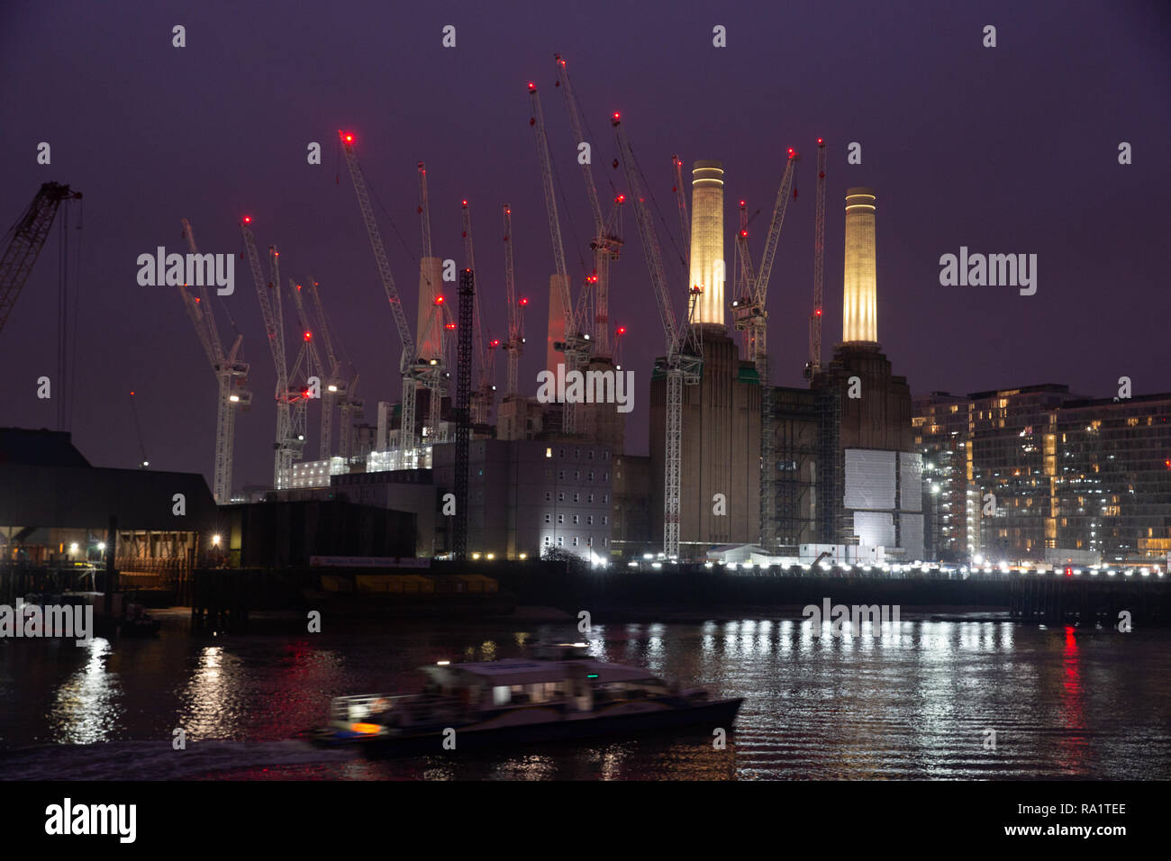 Battersea Power Station,a decommissioned coal-fired power station, has been bought by a Malaysian consortium and the 42 acre site is being redeveloped. - Stock Image