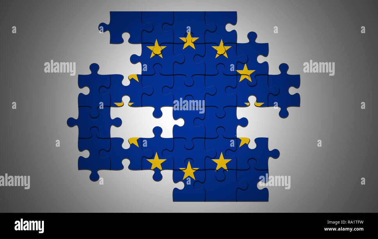 EU Crisis Concept: Incomplete EU Flag Jigsaw Puzzle With Missing Pieces, 3d illustration - Stock Image
