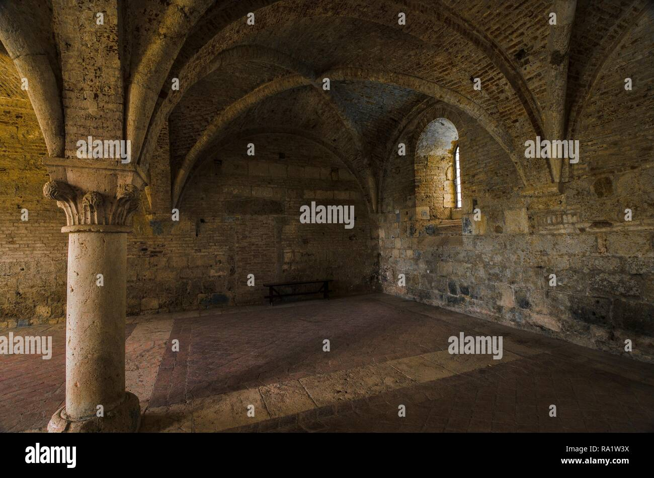 Abbey of San Galgano seen from the inside, - Stock Image