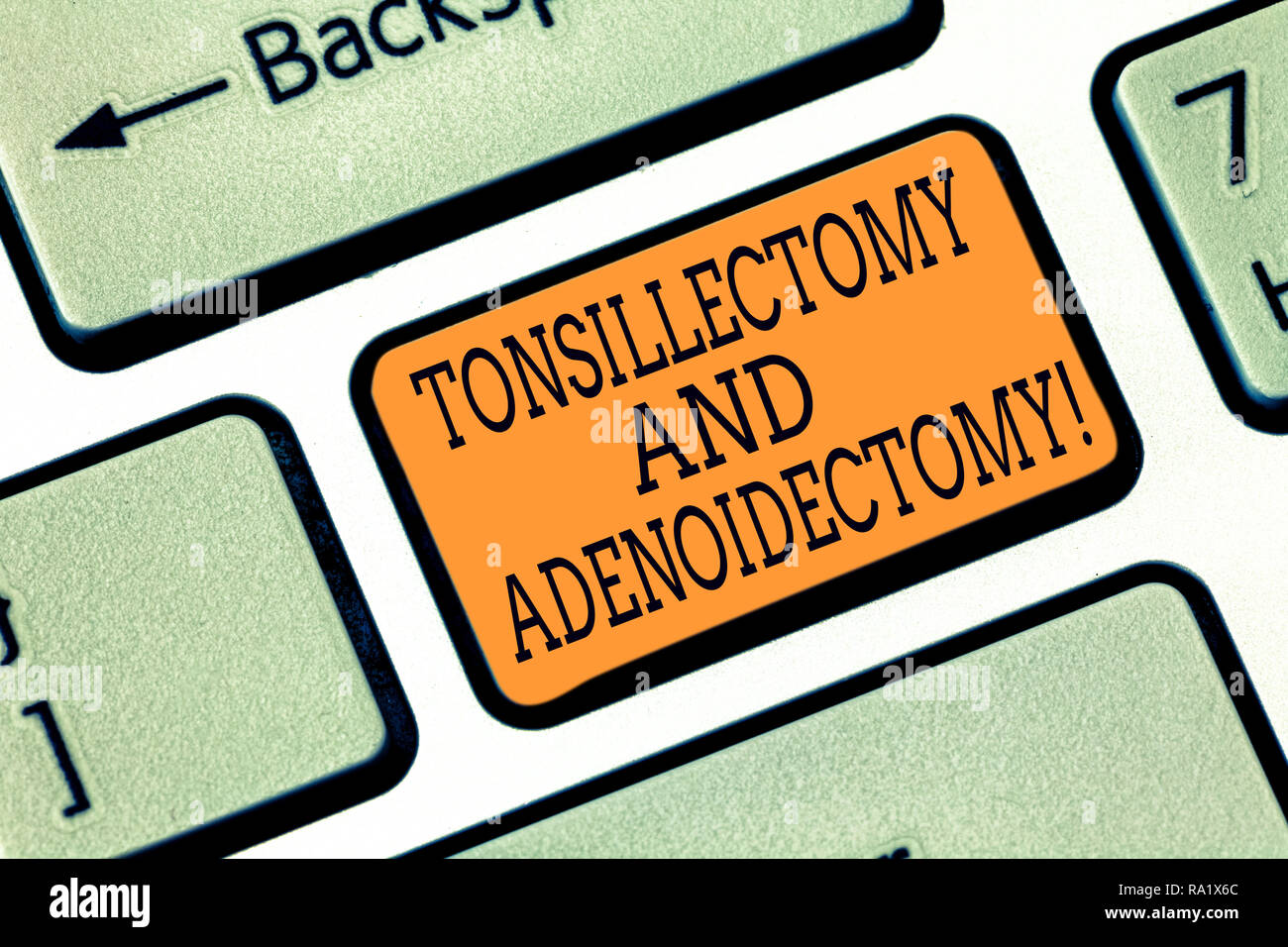 Word writing text Tonsillectomy And Adenoidectomy. Business concept for Procedure in removing tonsil and adenoid Keyboard key Intention to create comp - Stock Image
