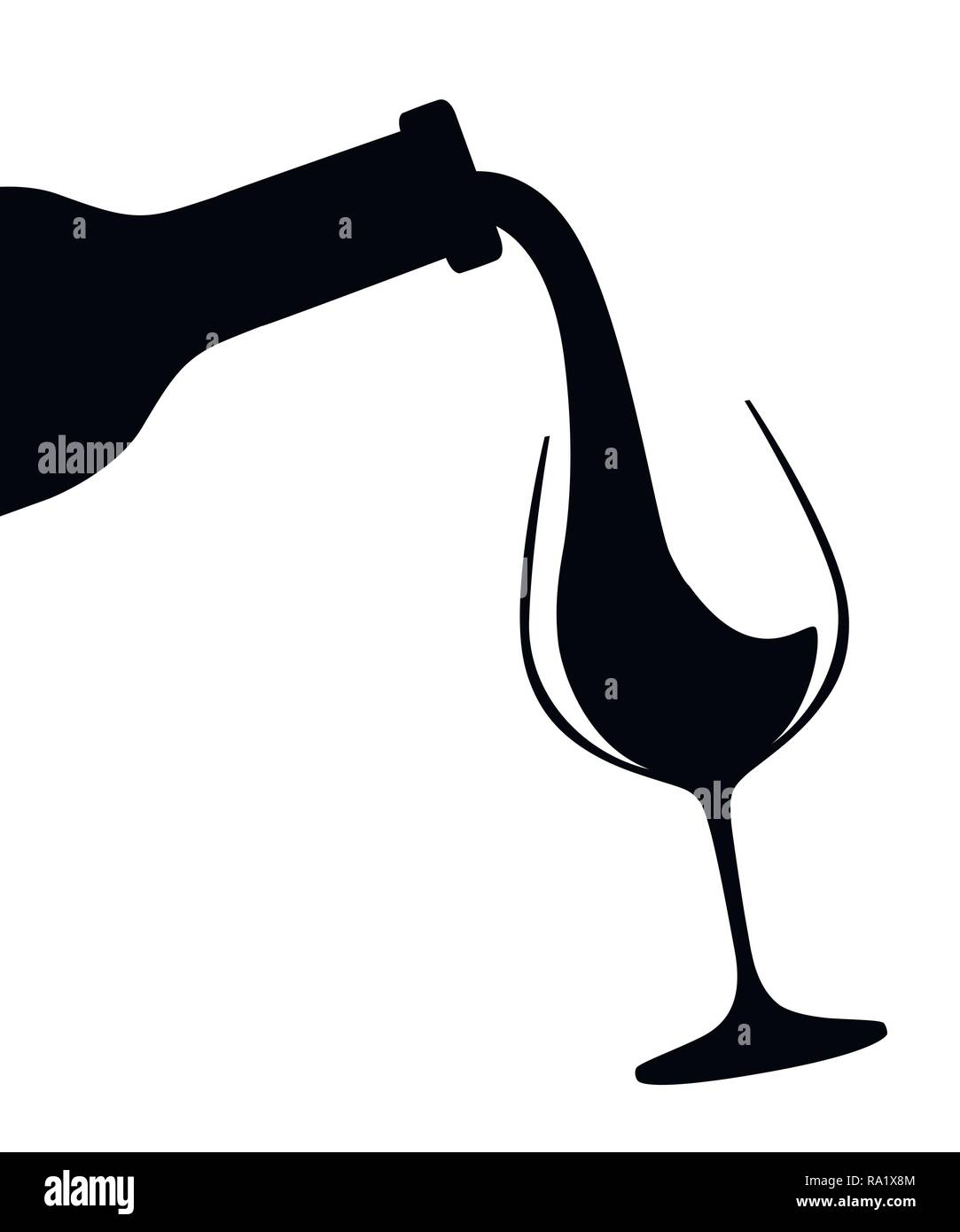 Black Silhouette Abstract Logo Or Illustration Red Wine Pouring From Bottle To Glass Flat Vector Illustration Isolated On White Background Stock Vector Image Art Alamy