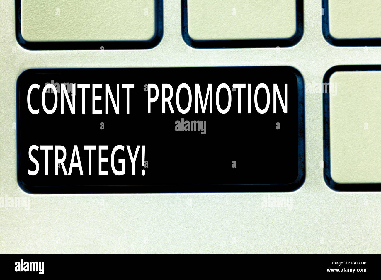 Writing note showing Content Promotion Strategy. Business photo showcasing engage with audience over paid social promotions Keyboard key Intention to  - Stock Image