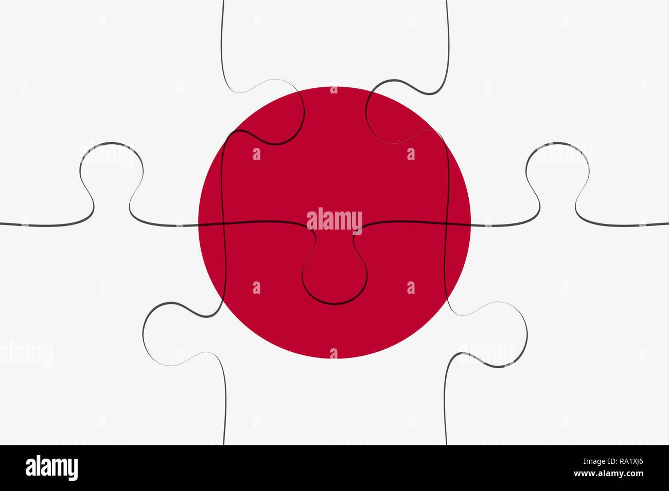 Japan Flag Jigsaw Puzzle, 3d illustration background Stock Photo