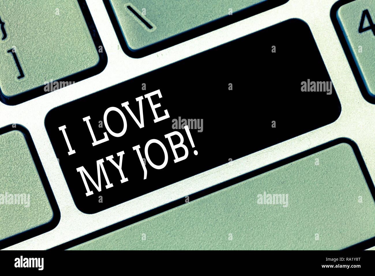 Word writing text I Love My Job. Business concept for Having affection or passionate to the occupation chosen Keyboard key Intention to create compute - Stock Image