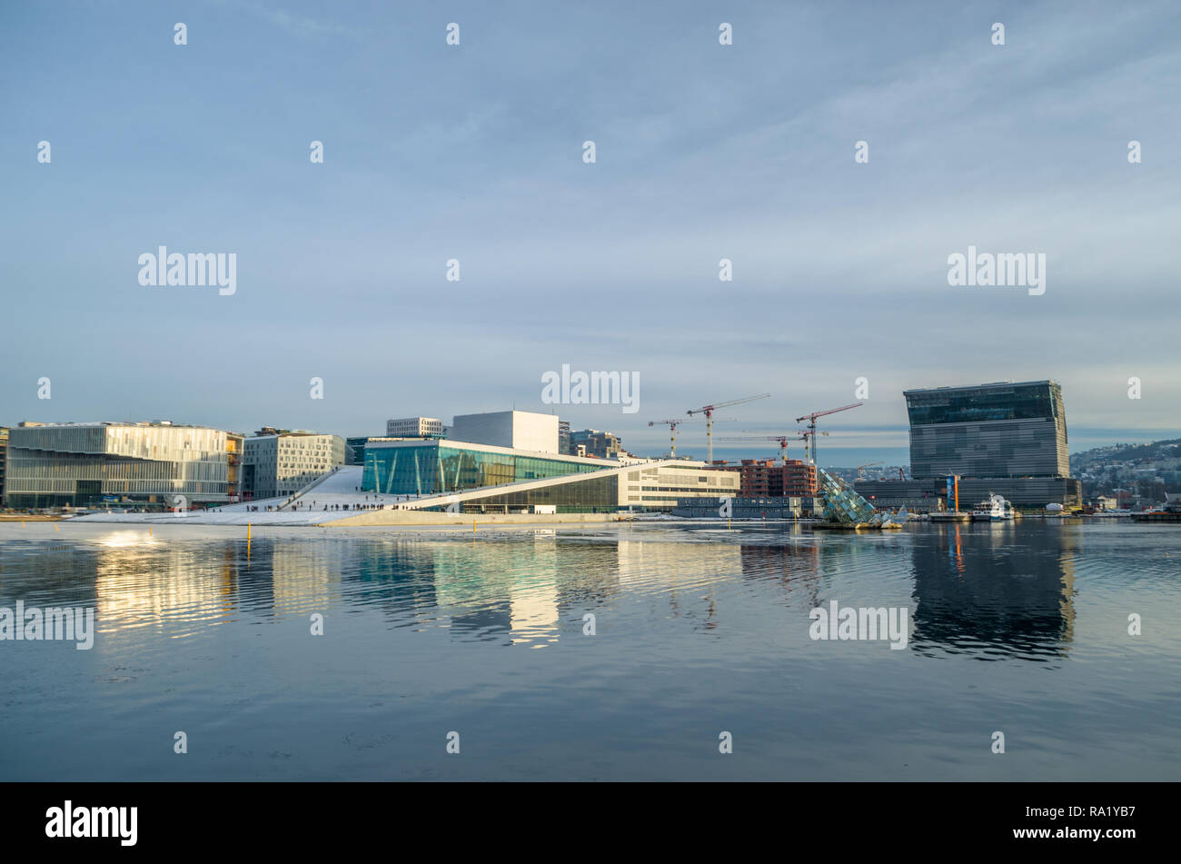 General view of Oslo Opera house in winter sunny afternoon. - Stock Image