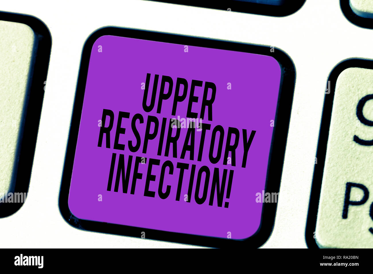 Handwriting text Upper Respiratory Infection. Concept meaning illnesses caused by an acute infection Keyboard key Intention to create computer message - Stock Image