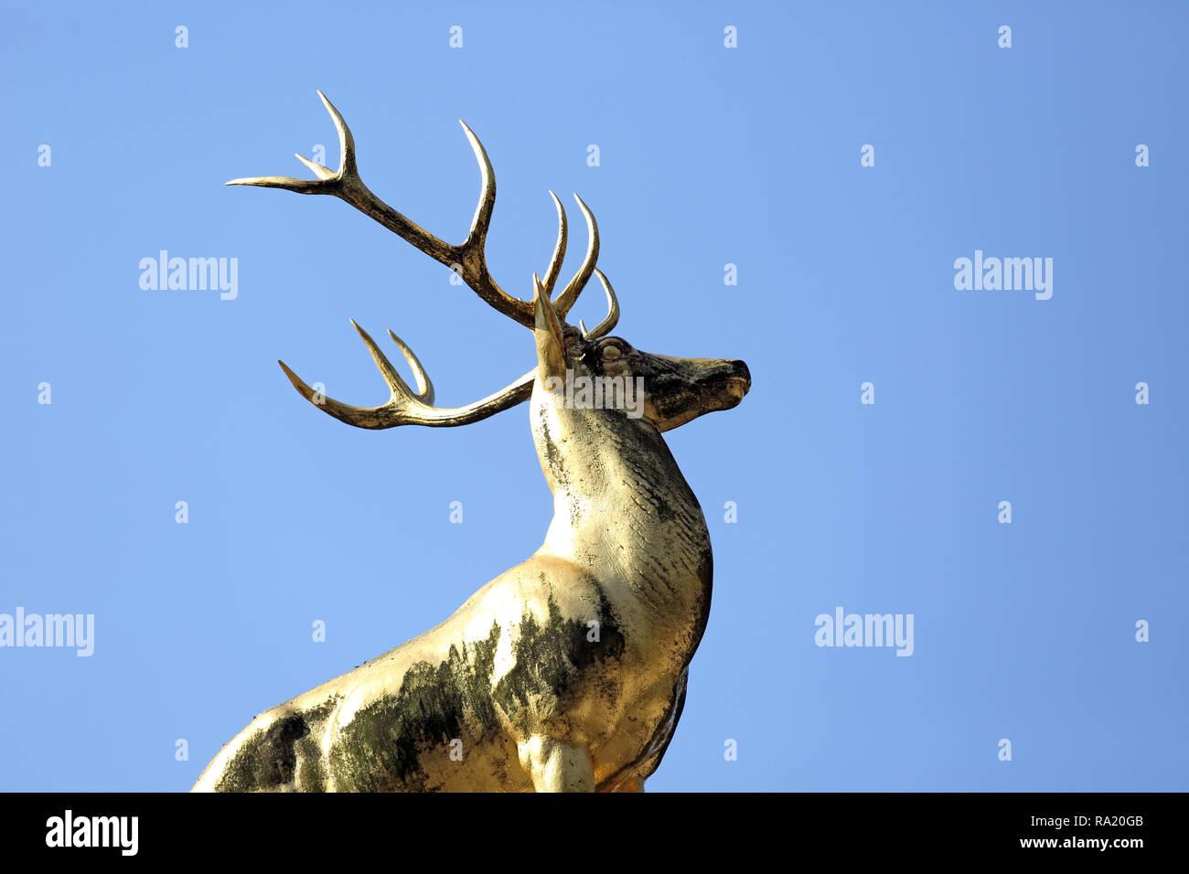 20.04.2018, Berlin, Berlin, Deutschland, Goldener Hirsch im Rudolph-Wilde-Park. 00S180420D064CARO.JPG [MODEL RELEASE: NOT APPLICABLE, PROPERTY RELEASE Stock Photo