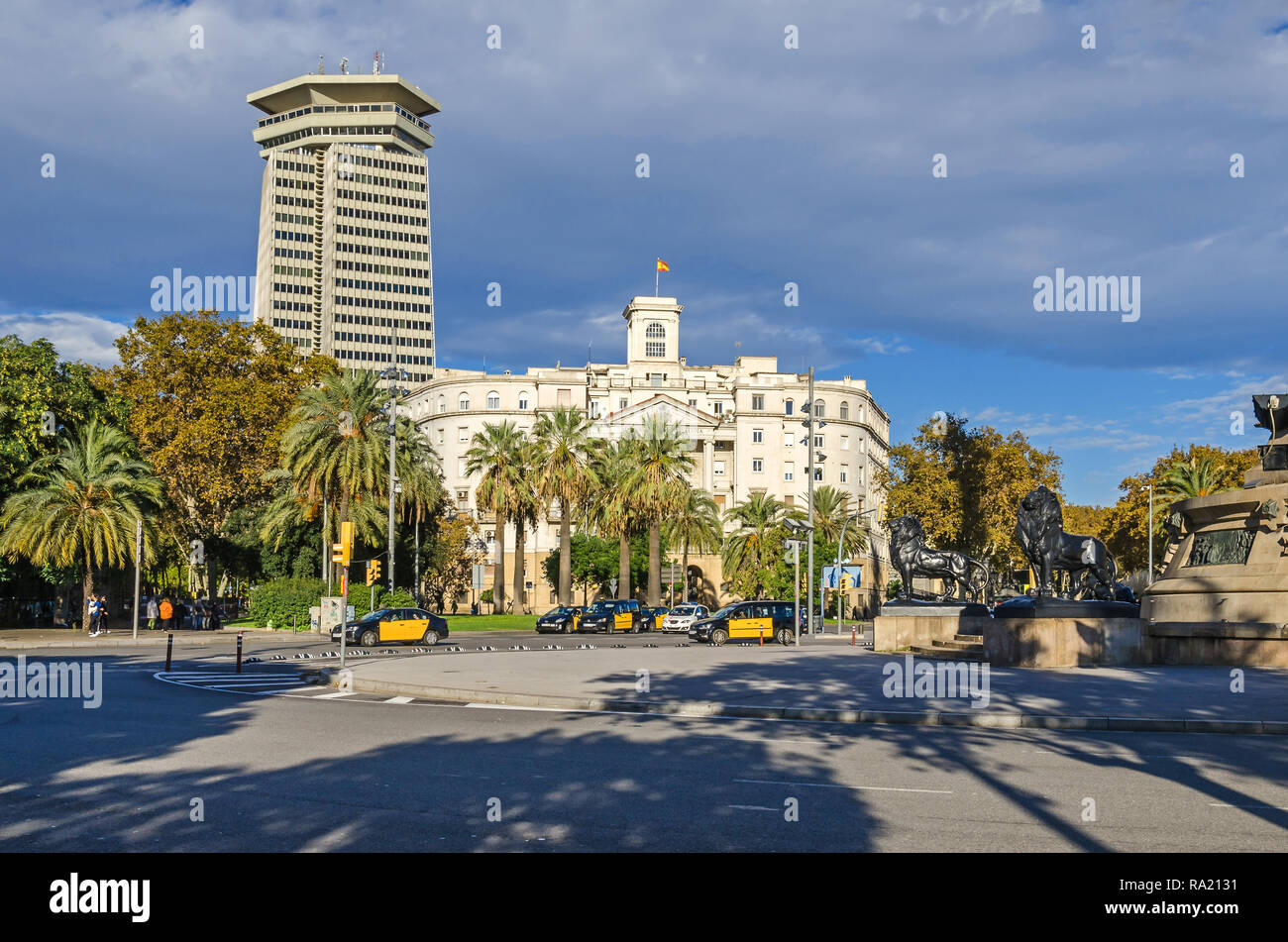 Barcelona, Spain - November 10, 2018: Building of the Military Base at the lower end of La Rambla as seen from The Columbus Monument and Edifici Colon - Stock Image