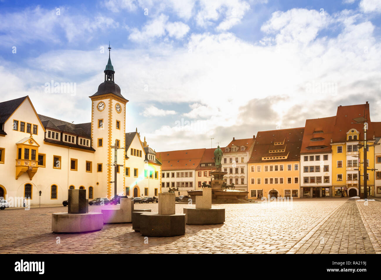 Freiberg, Market, Germany - Stock Image