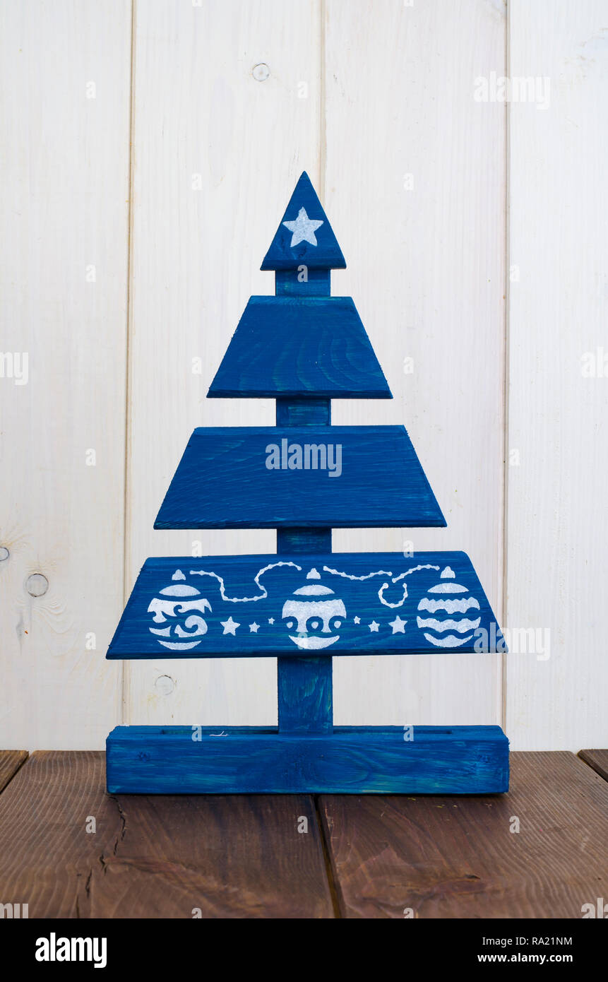 Handmade Wooden Christmas Tree Painted Blue Paint Studio Photo