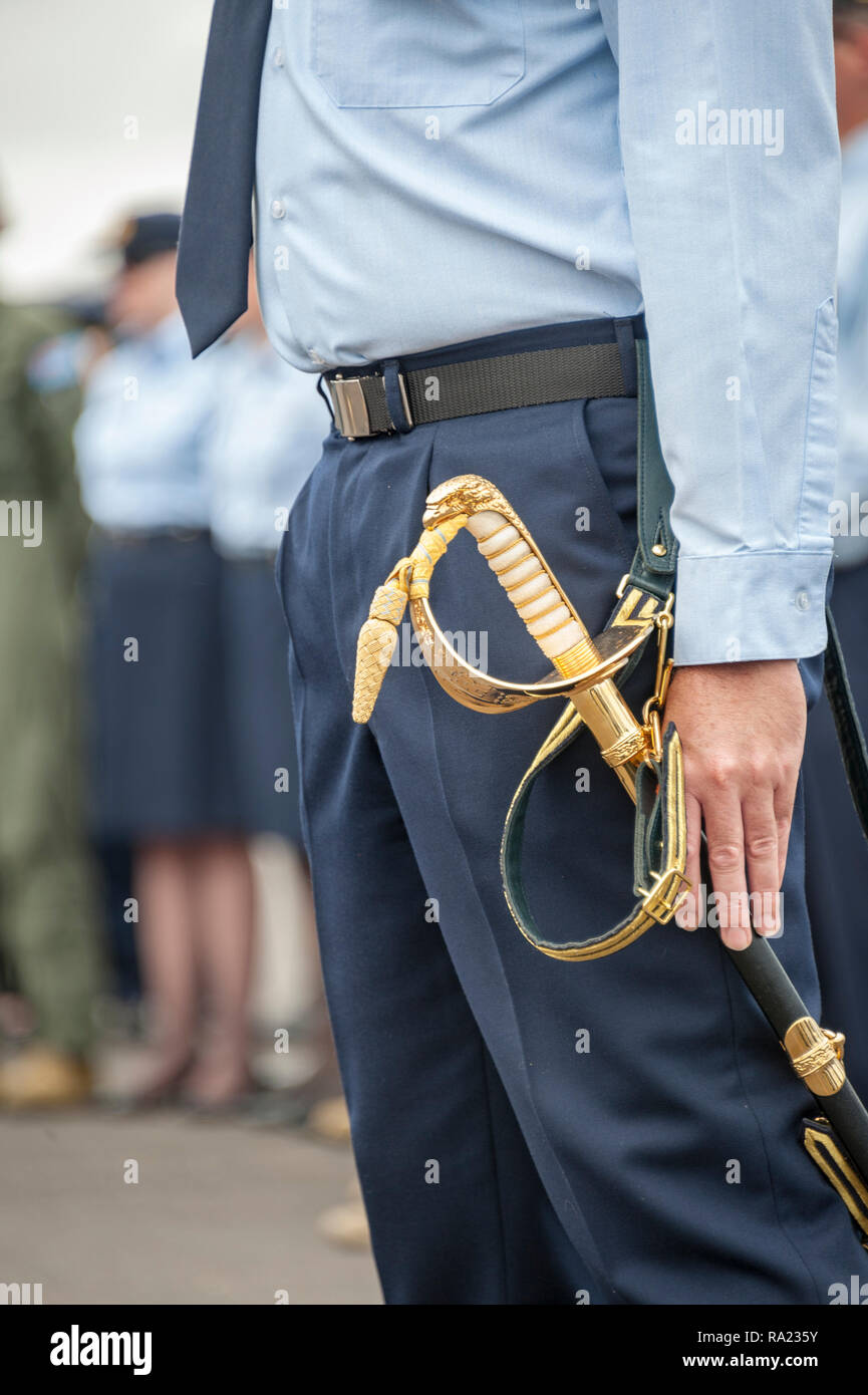 A military man in blue standing at attention with hand alongside sword Stock Photo