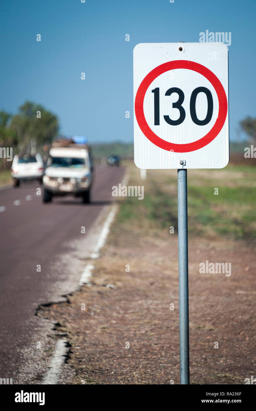 130 km/h, the high legal speed limits of the Northern Territory, outback Australia - Stock Image