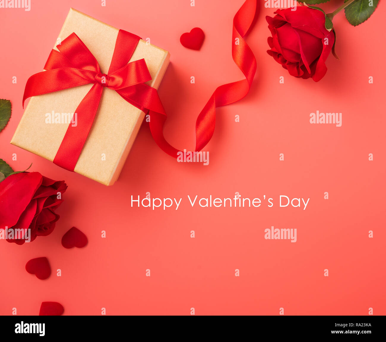 Gift Box With Red Ribbon And Rose In Trendy Colour Of 2019 Living