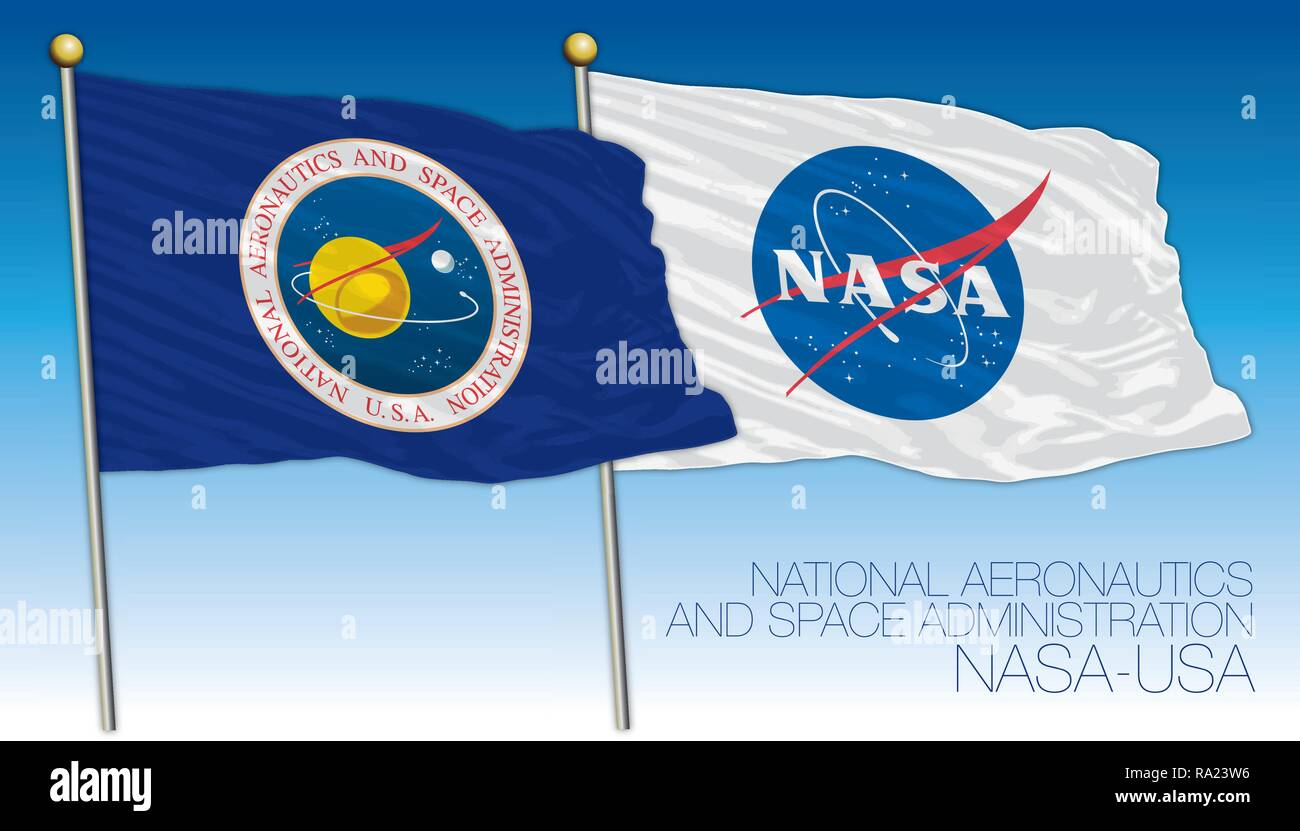 CAPE CANAVERAL, UNITED STATES OF AMERICA, YEAR 1958, NASA, National Aeronautics and Space Administration flag - Stock Vector