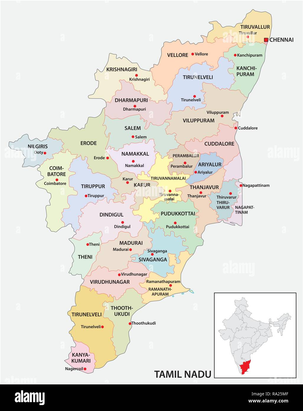 Administrative And Political Map Of Indian State Of Tamil Nadu