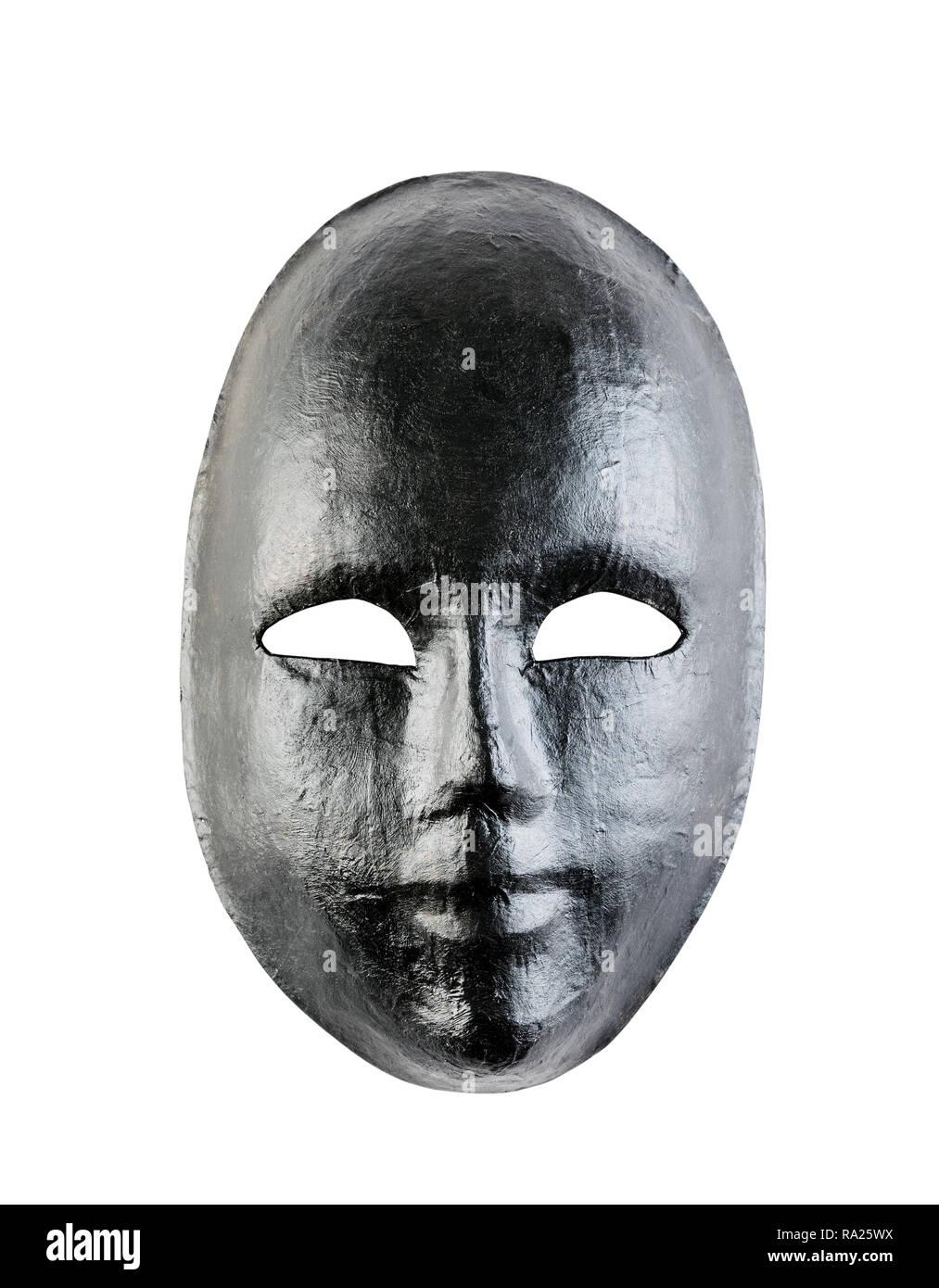 Black mask isolated on white background - Stock Image