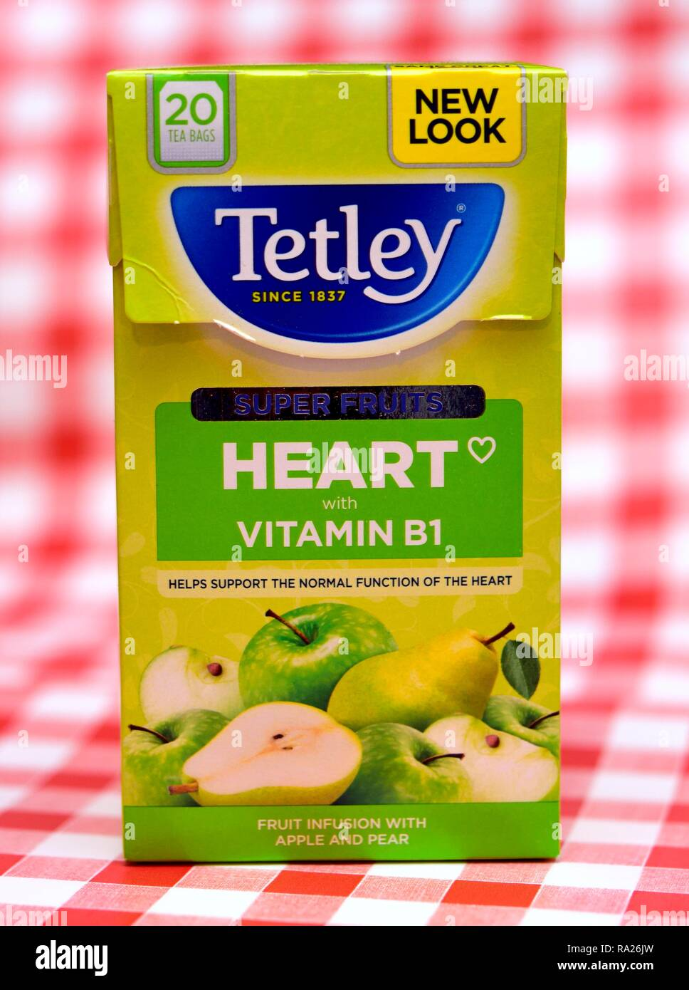 Tetley fruit infusion with apple and pear tea bags pack of 20 - Stock Image