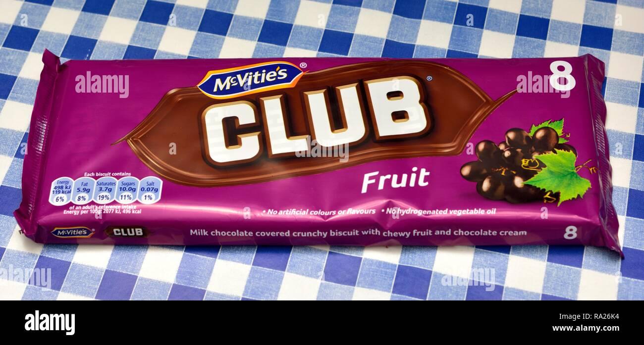 Mcvities club fruit retail 8 pack - Stock Image