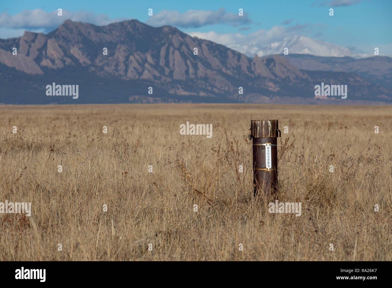 Denver, Colorado - Wells in Rocky Flats National Wildlife Refuge are used to determine whether plutonium and other pollutants have contaminated the gr - Stock Image