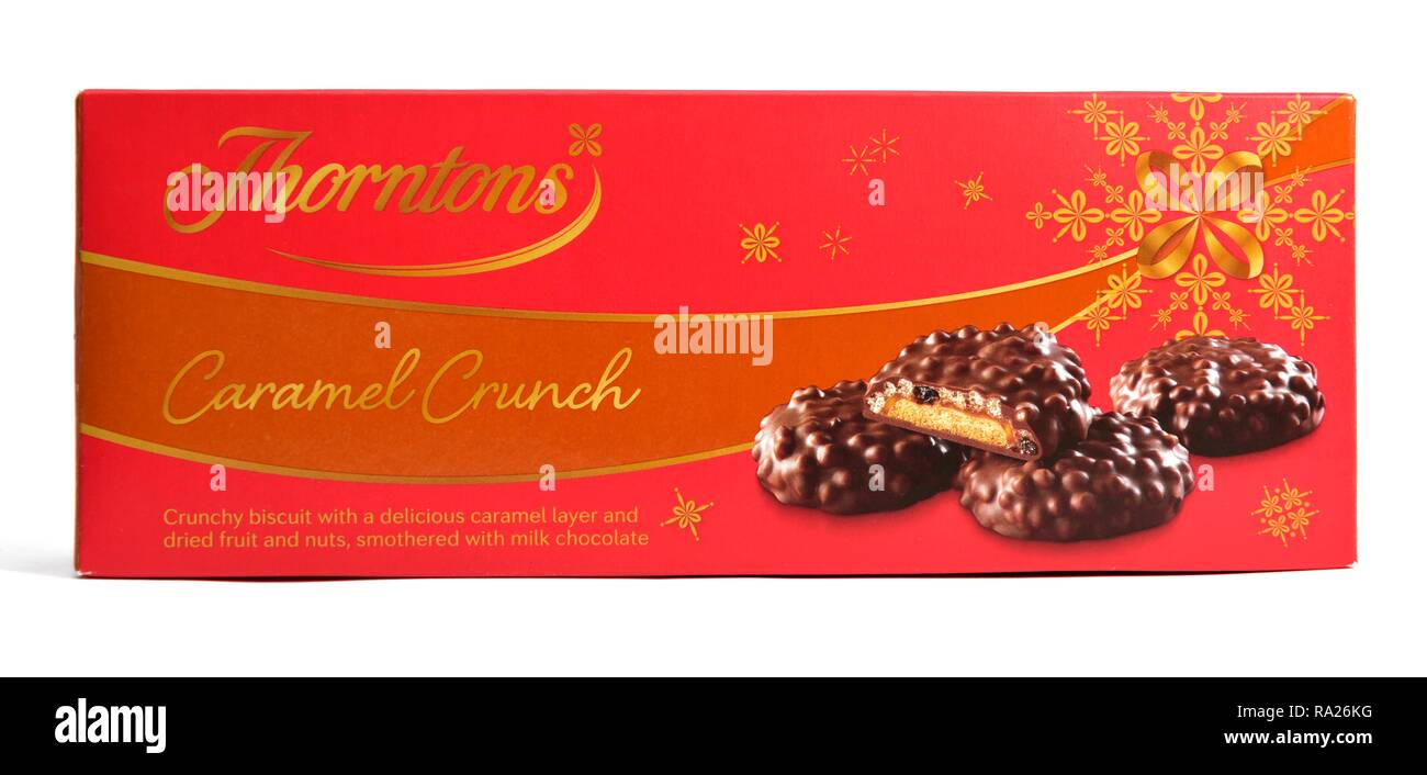 Thornton's caramel crunch biscuits retail box - Stock Image