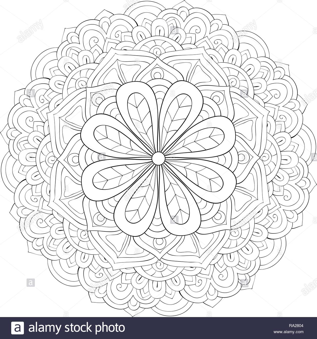 A zen mandala image for adults.A coloring book,page for relaxing ...