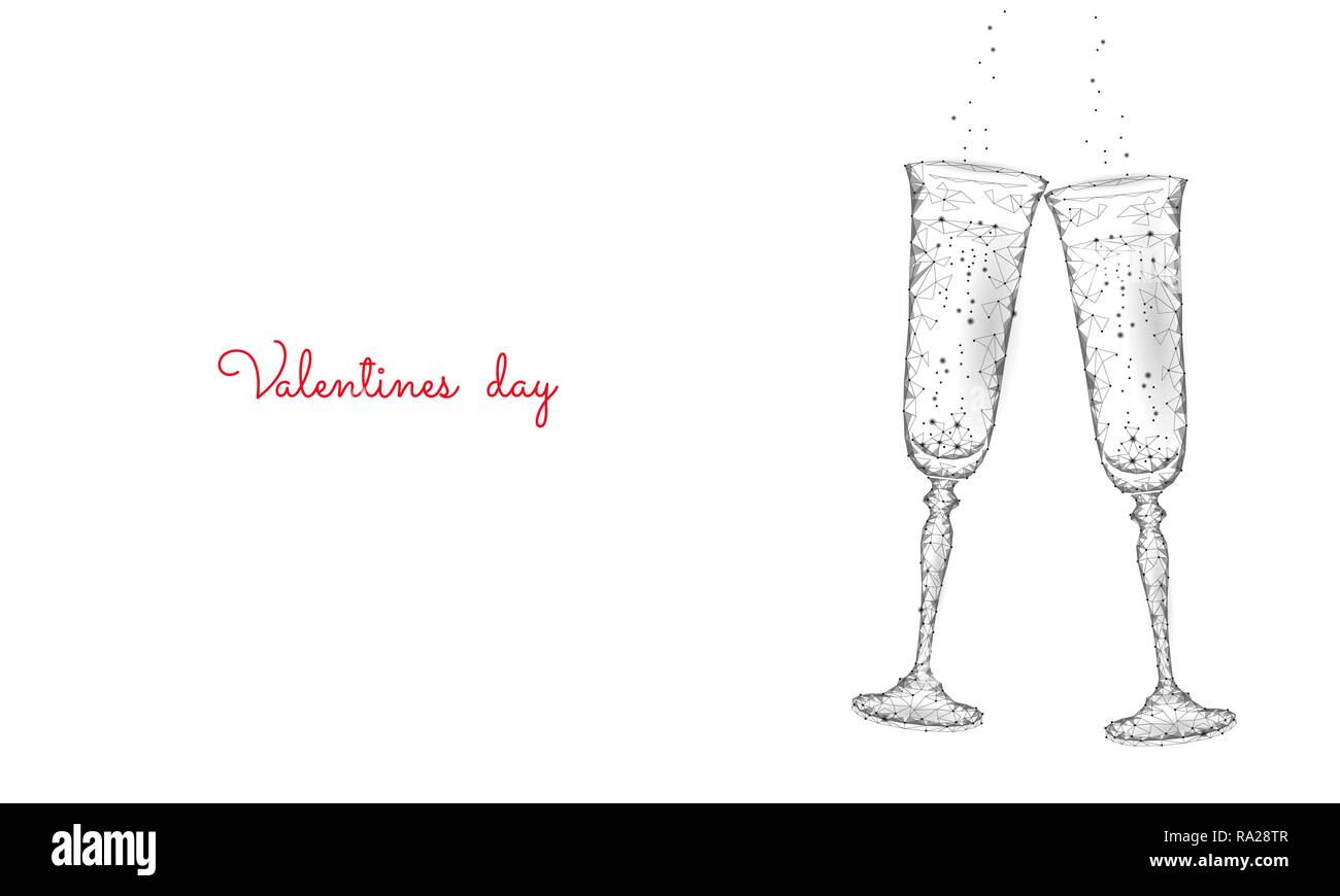 Two glasses of champagne with sparkles. Low poly polygonal white 3D toasting romantic love date. Heart shape tender dating chin-chin couple Valentine day vector illustration - Stock Image