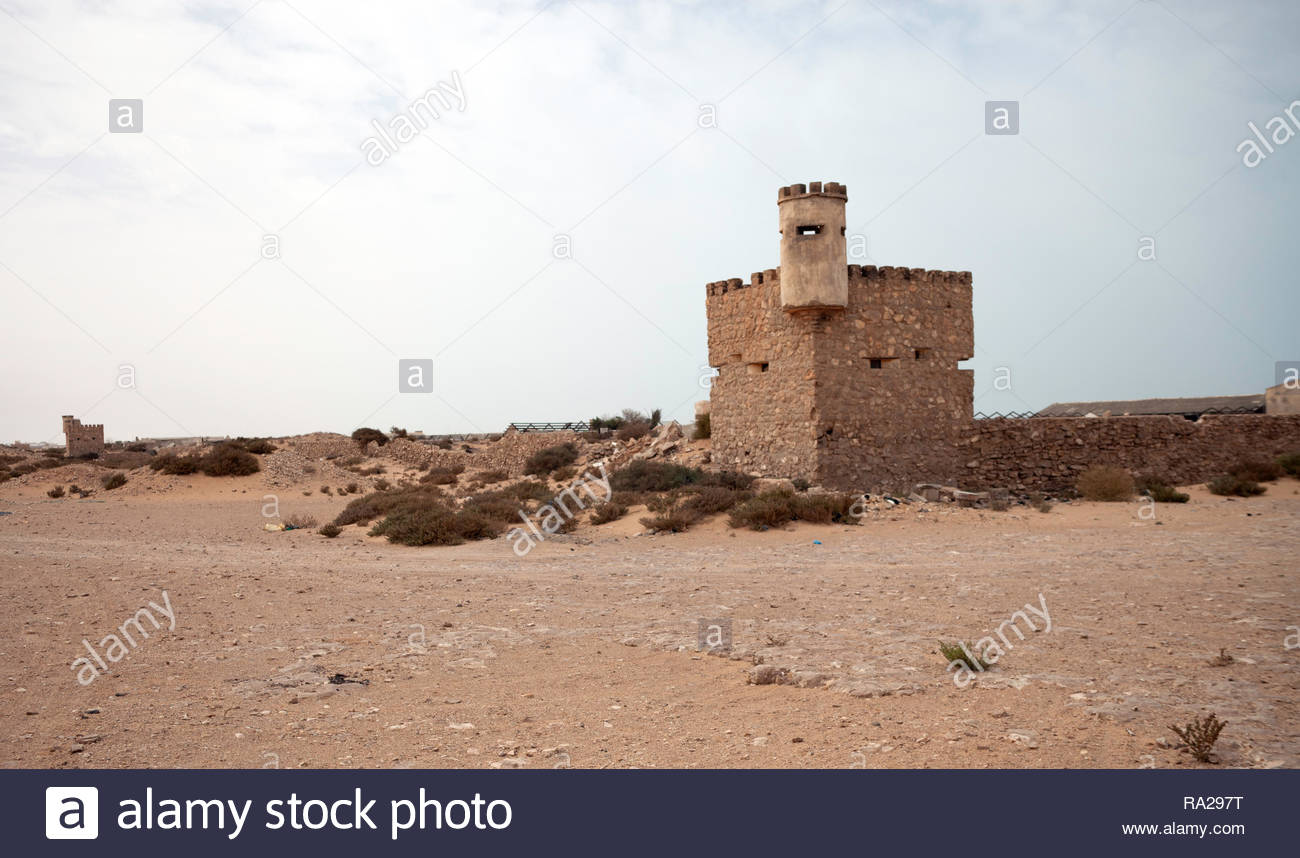 Abandoned fort in old Spanish Sahara - Stock Image