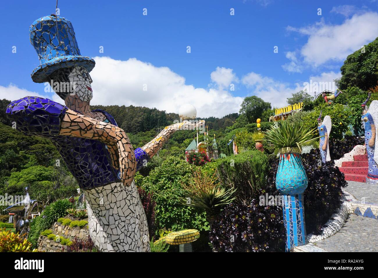 The Enchanting Fairy Tale Garden of the Giant's House in Akaroa, New Zealand - Stock Image