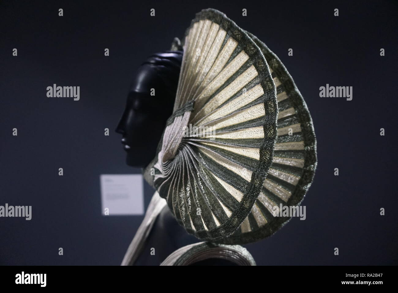 Headdress of an Outfit of Wearable Art designed by R.R. Pascoe, on Exhibit at the WOW Museum and Classic Car Collection in Nelson, NZ - Stock Image