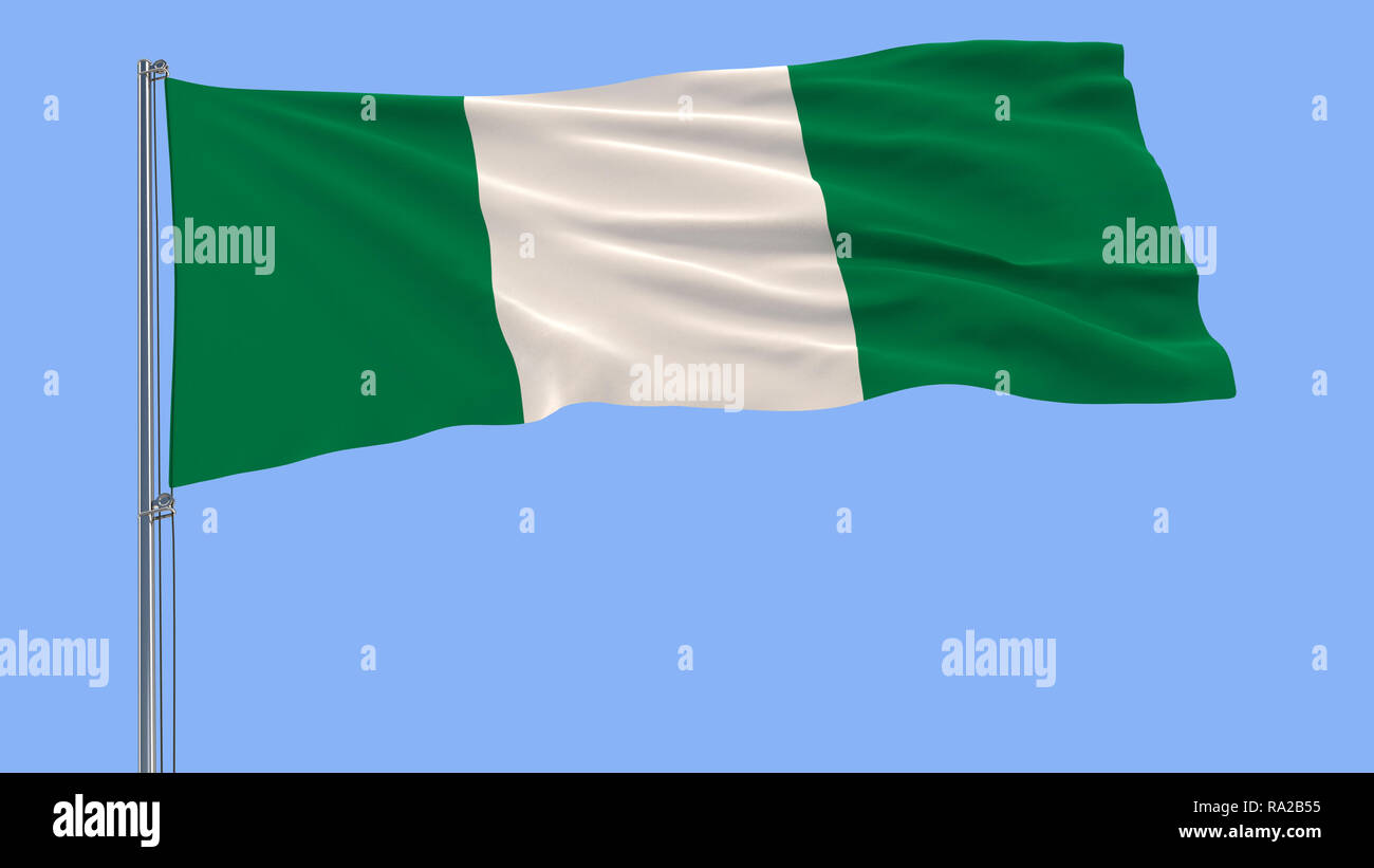 Flag of Nigeria on a flagpole fluttering in the wind on a blue background, 3d rendering - Stock Image