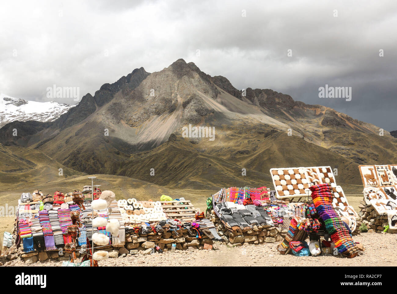 Market on Road Cusco-Puno, Peru - Stock Image