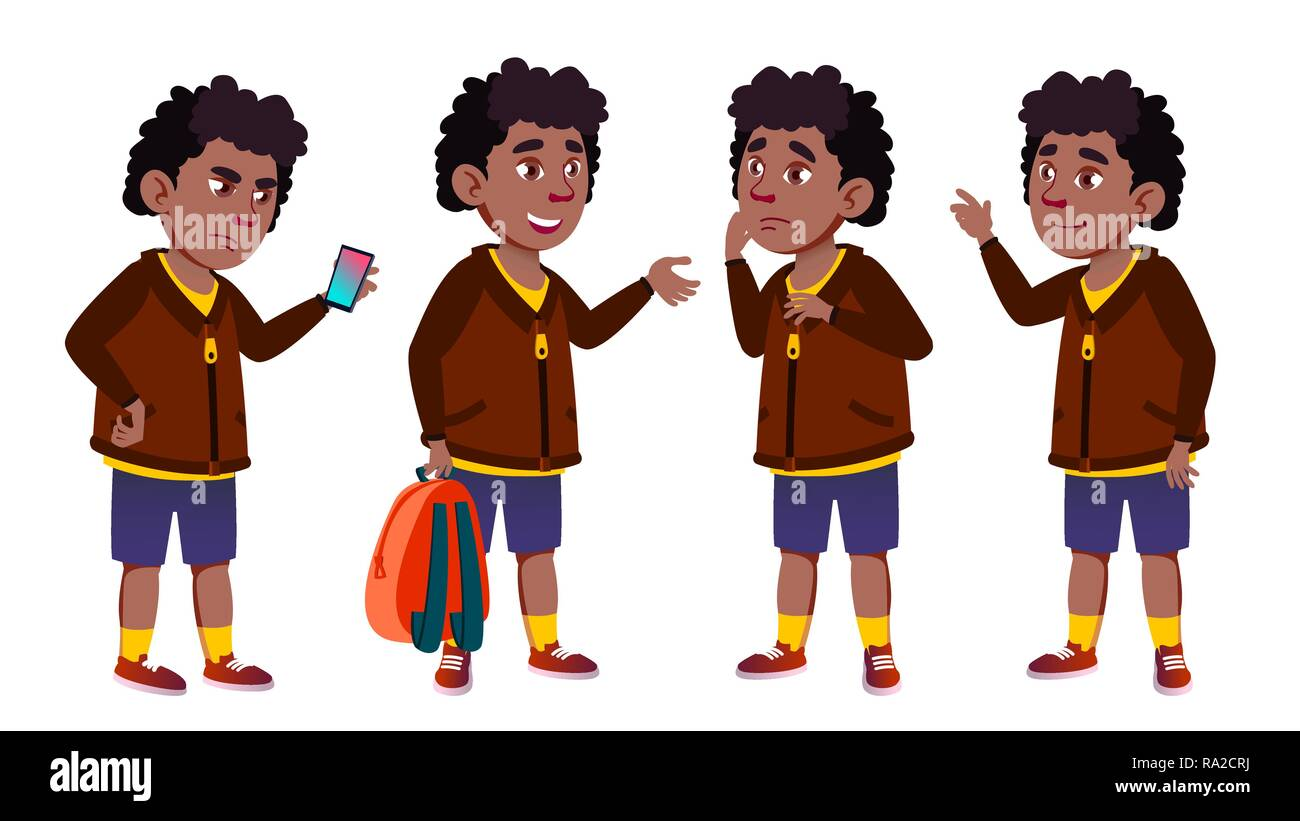 Boy Schoolboy Set Vector. Black. Afro American. Cute Child. Happiness Enjoyment. Cheer, Pretty. For Presentation, Print, Invitation Design. Isolated Cartoon Illustration - Stock Vector