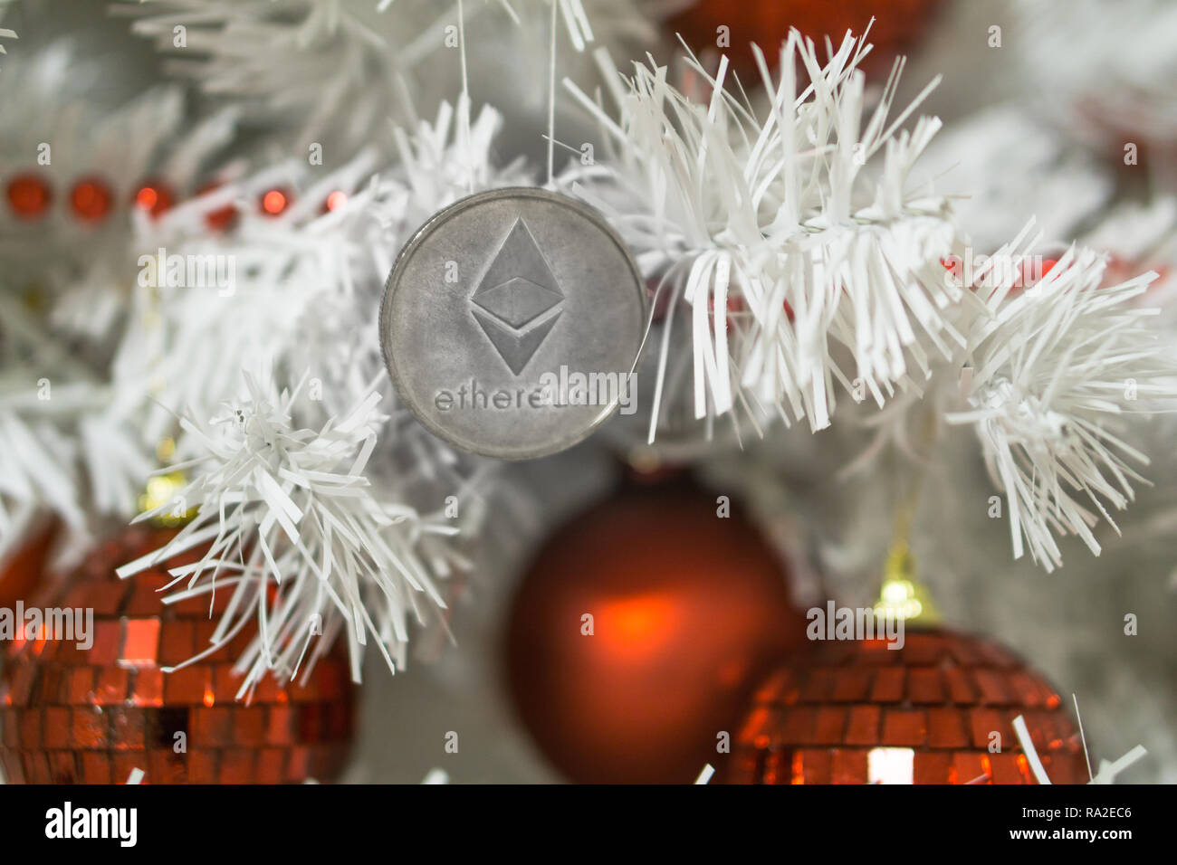 Ethereum And Christmas New Year Silver Ethereum Cryptocurrency Ethereum On A Christmas Tree Stock Photo Alamy