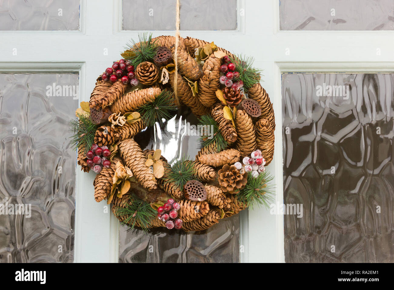 Decorative Wreaths On A Front Door Stock Photo Alamy