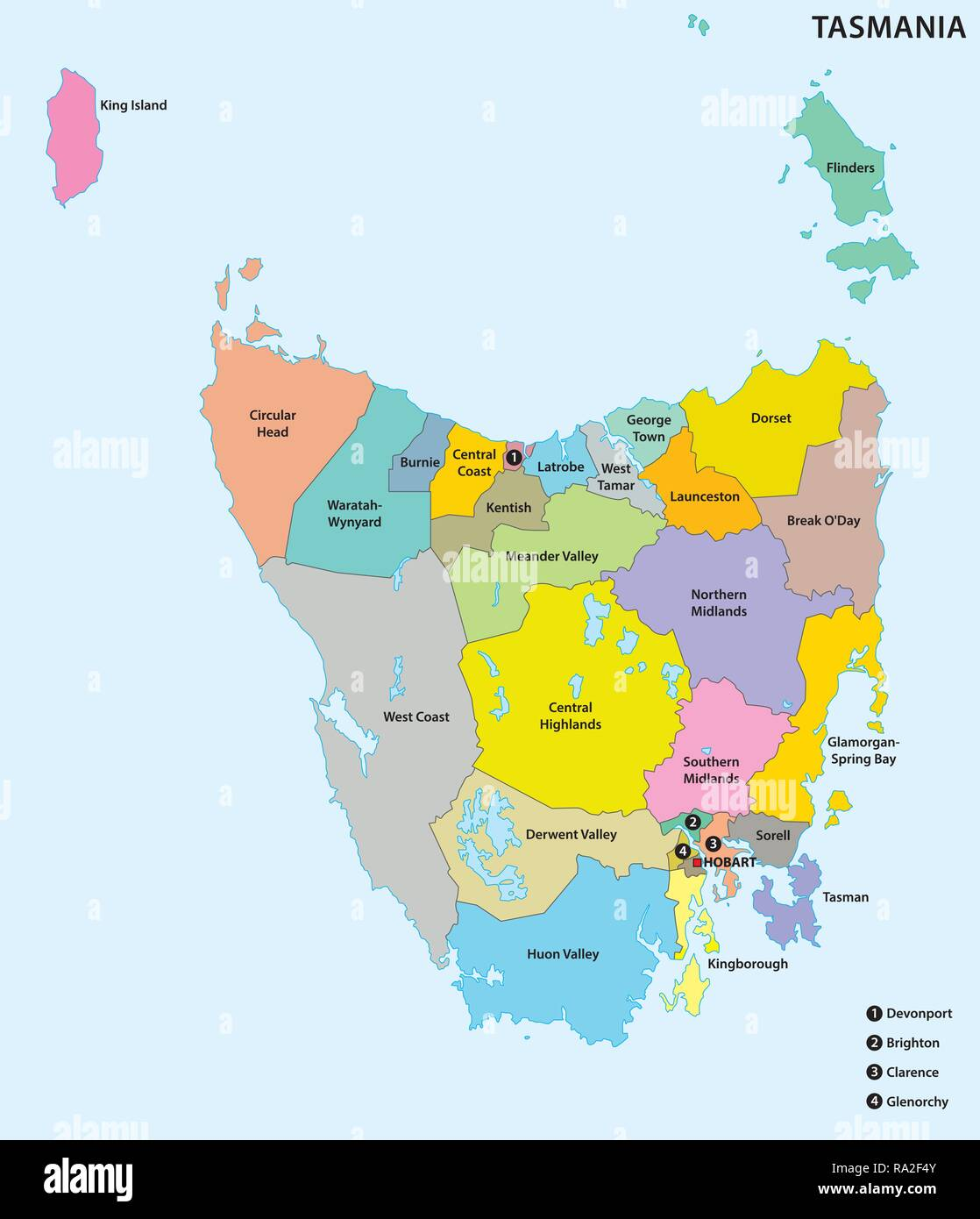 Administrative and political map of the 29 Local government areas of Tasmania, Australia - Stock Image