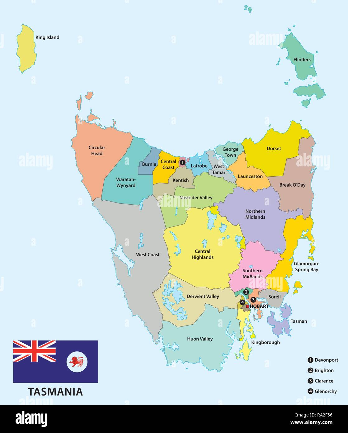Administrative and political map of the 29 Local government areas of Tasmania with flag, Australia - Stock Image