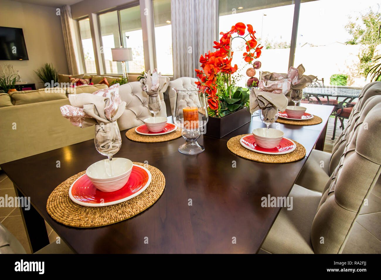 Modern Wooden Table With Chairs And Six Place Settings - Stock Image